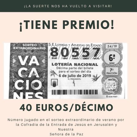 Cofradía Borriquilla Granada: ¡NOS HA TOCADO EL SORTEO EXTRAORDINARIO DE VERANO!