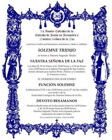 Cofradía Borriquilla Granada: TRIDUO EN HONOR A NTRA. SRA. DE LA PAZ, FUNCIÓN SOLEMNE Y DEVOTO BESAMANOS
