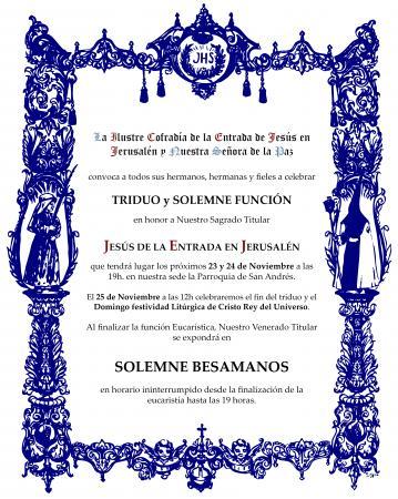 Cofradía Borriquilla Granada: TRIDUO EN HONOR A NUESTRO SAGRADO TITULAR JESÚS DE LA ENTRADA EN JERUSALÉN Y FESTIVIDAD LITÚRGICA DE CRISTO REY