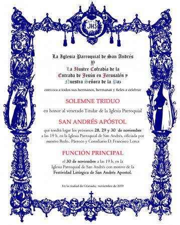 Cofradía Borriquilla Granada: TRIDUO Y FUNCIÓN PRINCIPAL EN HONOR A SAN ANDRÉS APOSTOL