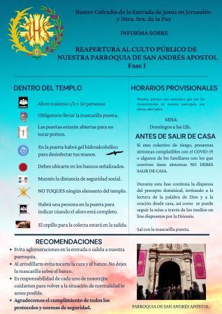 Cofradía Borriquilla Granada: REAPERTURA AL CULTO PÚBLICO DE NUESTRA PARROQUIA. FASE I POR EL ESTADO DE ALARMA SANITARIA POR EL COVID-19