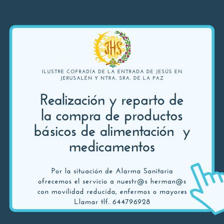 Cofradía Borriquilla Granada: REALIZACIÓN Y REPARTO DE PRODUCTOS BÁSICOS DE ALIMENTACIÓN Y MEDICAMENTOS