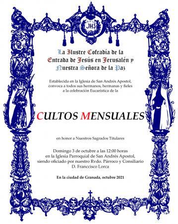 Cofradía Borriquilla Granada: CULTOS MENSUALES EN HONOR A NUESTROS SAGRADOS TITULARES - OCTUBRE