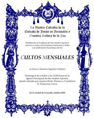 Cofradía Borriquilla Granada: CULTOS MENSUALES EN HONOR A NUESTROS SAGRADOS TITULARES - OCTUBRE 19
