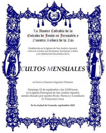 Cofradía Borriquilla Granada: CULTOS MENSUALES EN HONOR A NUESTROS SAGRADOS TITULARES - SEPTIEMBRE