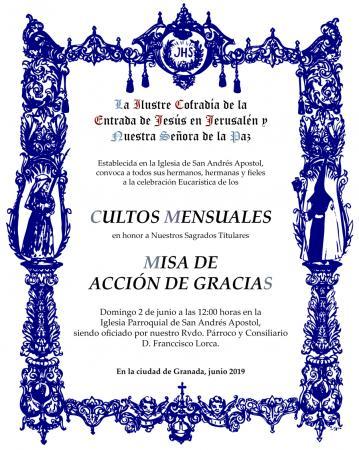 Cofradía Borriquilla Granada: CULTOS MENSUALES EN HONOR A NUESTROS SAGRADOS TITULARES - JUNIO. MISA DE ACCIÓN DE GRACIAS