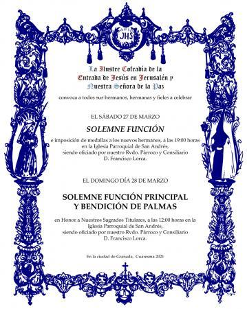 Cofradía Borriquilla Granada: SEMANA SANTA 2021, FUNCIONES Y OFICIOS