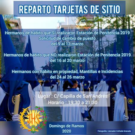 Cofradía Borriquilla Granada: REPARTO DE HÁBITOS Y TARJETAS DE SITIO PARA LA ESTACIÓN DE PENITENCIA DEL DOMINGO DE RAMOS DEL 2020